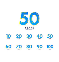 50 years excellent anniversary celebration blue vector
