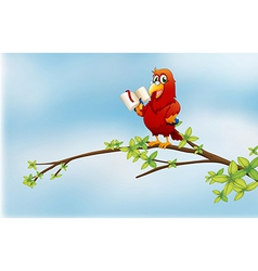 A parrot reading above a branch a tree vector