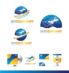 Air plane earth travel logo icon design vector