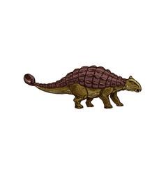 Ankylosaurus dinosaur isolated brown dino sketch vector