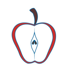 Apple cut in half vector