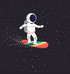 astronaut rides on flying board on universe vector image