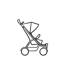 baby pushchair hand drawn sketch icon vector image