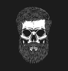 bearded skull on dark background design element vector image