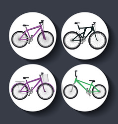 bicycle style set icons vector image