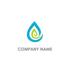 Bio leaf droplet organic logo vector