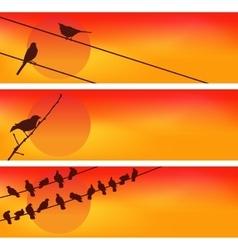 Birds against the sunset Three vector