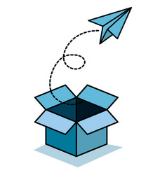 Box and paper plane icon vector