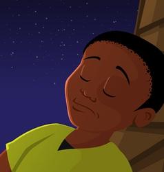 boy sleeping outside vector image