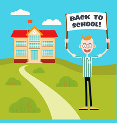 Boy with a poster go back to school vector