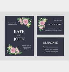 bundle beautiful wedding invitation save the vector image
