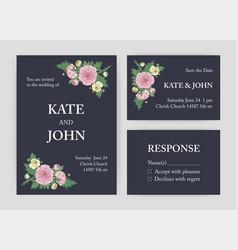 bundle of beautiful wedding invitation save vector image