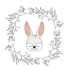 bunny face with closed eyes in decorative frame of vector image
