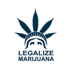Cannabis leaf on statue liberty vector