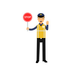 cartoon traffic control policeman showing stop vector image