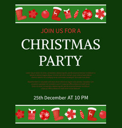 christmas party celebration invitation text sample vector image