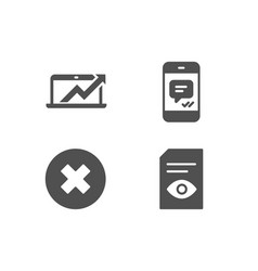 close button sales diagram and message icons vector image