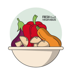 colorful poster of bowl with fresh vegetables vector image vector image