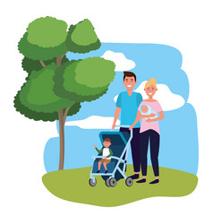 couple with bacarriage vector image
