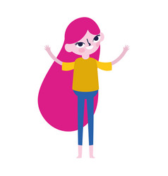cute teen girl standing cartoon character on white vector image