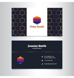dark business card template with abstract vector image