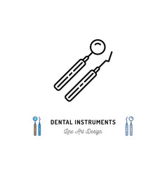 Dental instrument logo dental mirror and dental vector