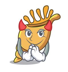 Devil exotic shell mascot cartoon vector