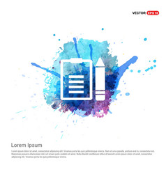 edit document icon - watercolor background vector image