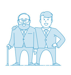 elderly father and adult son together vector image