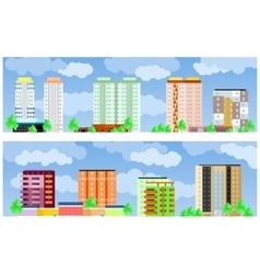 Facades of buildings vector