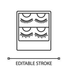 false eyelashes packaging linear icon vector image