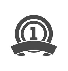 First place icon with ribbon vector
