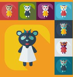Flat modern design with shadow icons panda girl vector