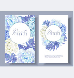 Floral blue round banners vector