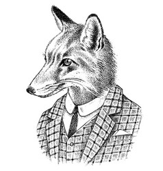 Fox dressed up in suit aristocrat or old vector