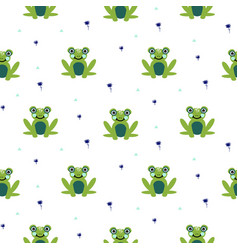 Frogs seamless pattern cute green animal vector
