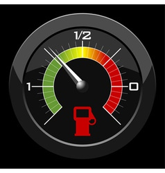 Fuel gauge colored scale over black background vector