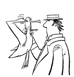 Gentleman and Seagull humor vector image