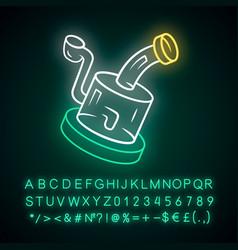 Glass rig neon light icon cannabis industry ganja vector