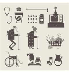 Granny icons vector