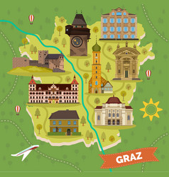 Graz town map with sightseeing landmarks vector