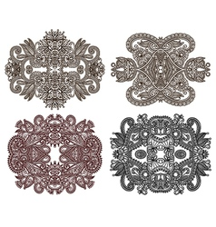 hand draw four ornamental floral adornment vector image