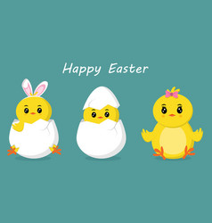 happy easter banner with cute chicks vector image