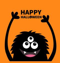 Happy halloween smiling monster head silhouette vector