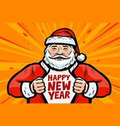 happy new year greeting card santa claus in pop vector image