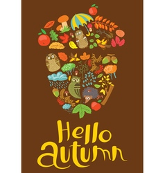 Hellow autumn lettering with acorn silhouette vector