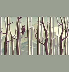 Horizontal cartoon forest with mountains vector