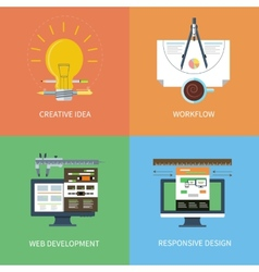 Idea design web development workflow icons set vector image