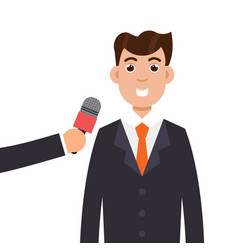 interview or press conference a businessman vector image