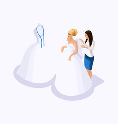 isometric is a set tailors sewing wedding dress vector image
